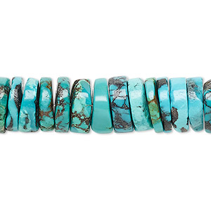 bead, turquoise (dyed / stabilized), blue, 11x2mm-12x4mm heishi, b grade, mohs hardness 5 to 6. sold per 16-inch strand.