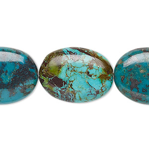 bead, turquoise (dyed / stabilized), blue, 23x17mm-25x19mm puffed oval, c+ grade, mohs hardness 5 to 6. sold per 15-inch strand.
