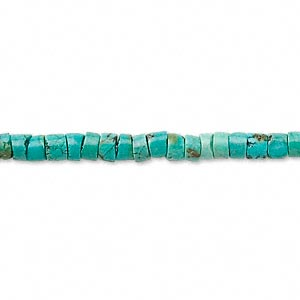 bead, turquoise (dyed / stabilized), blue, 3x1mm-4x3mm heishi, c grade, mohs hardness 5 to 6. sold per 14-inch strand.
