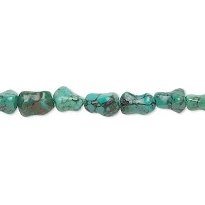 bead, turquoise (dyed / stabilized), blue, 6x5mm-8x5mm dog bone, c grade, mohs hardness 5 to 6. sold per 16-inch strand.
