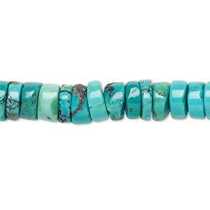 bead, turquoise (dyed / stabilized), blue, 7x2mm-8x4mm heishi, b grade, mohs hardness 5 to 6. sold per 15-inch strand.