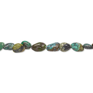 bead, turquoise (dyed / stabilized), blue and green, mini nugget, mohs hardness 5 to 6. sold per 16-inch strand.