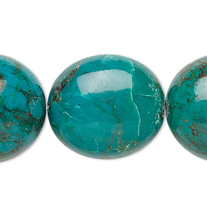bead, turquoise (dyed / stabilized), blue-green, 27x24mm-30x27mm puffed oval, b- grade, mohs hardness 5 to 6. sold per 7-inch strand.