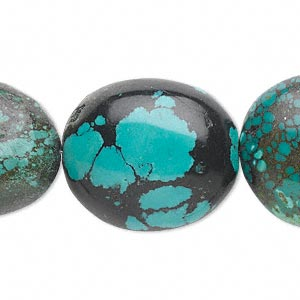 bead, turquoise (dyed / stabilized), blue-green, large oval nugget, mohs hardness 5 to 6. sold per 16-inch strand.