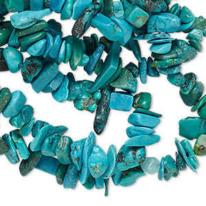 bead, turquoise (dyed / stabilized), blue-green, medium chip, mohs hardness 5 to 6. sold per 33-inch strand.