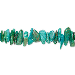 bead, turquoise (dyed / stabilized), blue-green, medium chip, mohs hardness 5 to 6. sold per 15-inch strand.