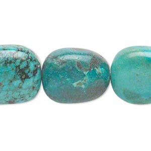 bead, turquoise (dyed / stabilized), blue-green, medium to large nugget, mohs hardness 5 to 6. sold per 16-inch strand.