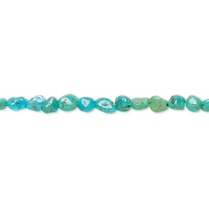 bead, turquoise (dyed / stabilized), blue-green, mini to small pebble, mohs hardness 5 to 6. sold per 15-inch strand.