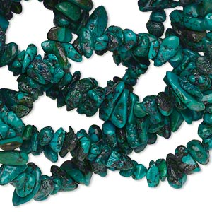 bead, turquoise (dyed / stabilized), blue-green, small chip, mohs hardness 5 to 6. sold per 35-inch strand.
