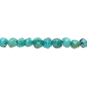 bead, turquoise (dyed / stabilized), blue-green, small faceted pebble, mohs hardness 5 to 6. sold per 16-inch strand.