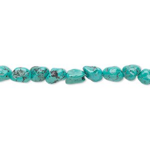 bead, turquoise (dyed / stabilized), blue-green, small pebble, mohs hardness 5 to 6. sold per 16-inch strand.