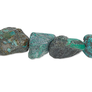 bead, turquoise (dyed / stabilized), blue-green, small to large rough nugget, mohs hardness 5 to 6. sold per 15-inch strand.