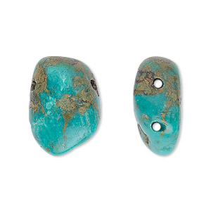 bead, turquoise (dyed / stabilized), blue, medium double-drilled nugget, mohs hardness 5 to 6. sold per pkg of 2.