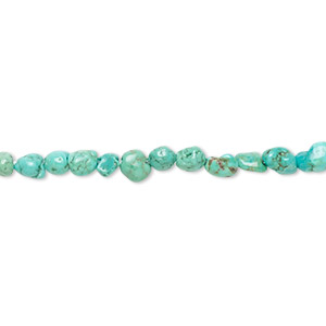bead, turquoise (dyed / stabilized), blue, mini to small pebble, mohs hardness 5 to 6. sold per 15-inch strand.