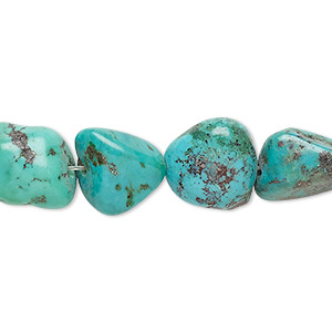 bead, turquoise (dyed / stabilized), blue, small nugget, mohs hardness 5 to 6. sold per 16-inch strand.