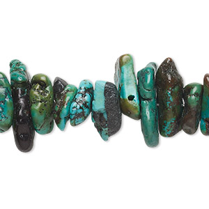 bead, turquoise (dyed / stabilized), extra-large chip, mohs hardness 5 to 6. sold per 15-inch strand.
