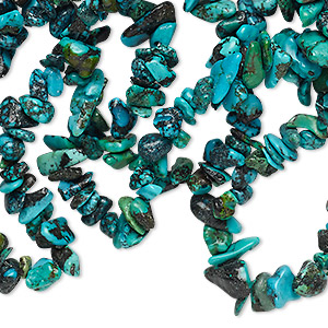 bead, turquoise (dyed / stabilized), green and blue, small chip, mohs hardness 5 to 6. sold per 34-inch strand.