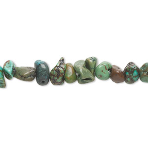 bead, turquoise (dyed / stabilized), green-brown, medium chip, mohs hardness 5 to 6. sold per 15-inch strand.