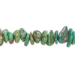 bead, turquoise (dyed / stabilized), green-brown, medium chip, mohs hardness 5 to 6. sold per 16-inch strand.