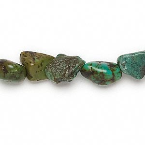 bead, turquoise (dyed / stabilized), green-brown, mini to small nugget, mohs hardness 5 to 6. sold per 16-inch strand.