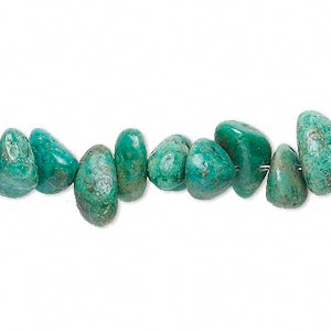 bead, turquoise (dyed / stabilized), green, large chip, mohs hardness 5 to 6. sold per 15-inch strand.
