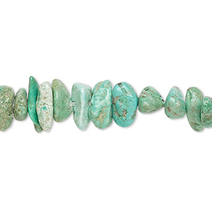bead, turquoise (dyed / stabilized), green, medium chip, mohs hardness 5 to 6. sold per 15-inch strand.