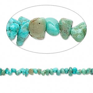 bead, turquoise (dyed / stabilized), green, mini chip, mohs hardness 5 to 6. sold per 16-inch strand.