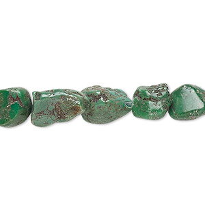 bead, turquoise (dyed / stabilized), green, mini to small nugget, mohs hardness 5 to 6. sold per 12-inch strand.