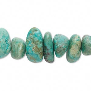 bead, turquoise (dyed / stabilized), green, small to medium nugget, mohs hardness 5 to 6. sold per 15-inch strand.