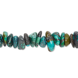 bead, turquoise (dyed / stabilized), large chip, mohs hardness 5 to 6. sold per 15-inch strand.