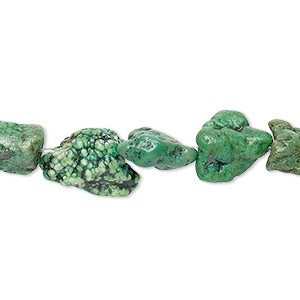 bead, turquoise (dyed / stabilized), light green, mini to medium hand-cut nugget, mohs hardness 5 to 6. sold per 15-inch strand.
