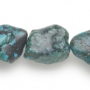 bead, turquoise (dyed / stabilized), medium to large flat nugget, mohs hardness 5 to 6. sold per 15-inch strand.