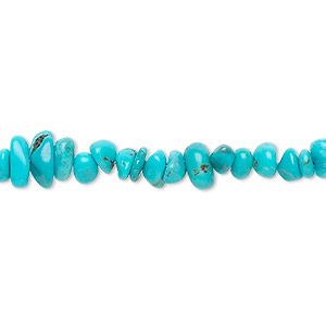 bead, turquoise (dyed / stabilized), mini chip, mohs hardness 5 to 6. sold per 16-inch strand.