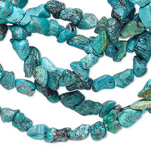 bead, turquoise (dyed / stabilized), mini nugget, mohs hardness 5 to 6. sold per 34-inch strand.