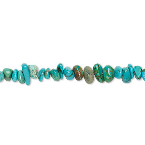 bead, turquoise (dyed / stabilized), small chip, mohs hardness 5 to 6. sold per 15-inch strand.