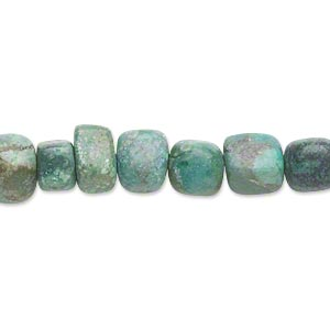 bead, turquoise (dyed / stabilized), small to medium tumbled pebble, mohs hardness 5 to 6. sold per 16-inch strand.