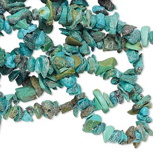 bead, turquoise (dyed / waxed), blue-green, mini chip, mohs hardness 5 to 6. sold per 33-inch strand.