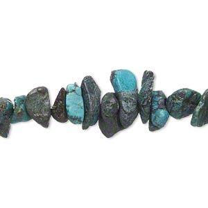 bead, turquoise (dyed / waxed), blue, medium chip, mohs hardness 5 to 6. sold per 15-inch strand.