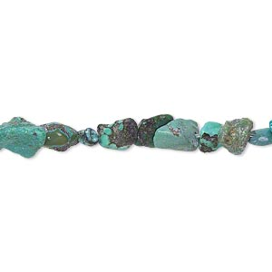 bead, turquoise (dyed / waxed), blue, mini nugget, mohs hardness 5 to 6. sold per 35-inch strand.