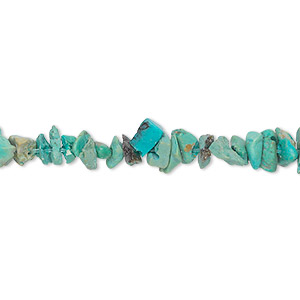 bead, turquoise (dyed / waxed), blue, small chip, mohs hardness 5 to 6. sold per 15-inch strand.