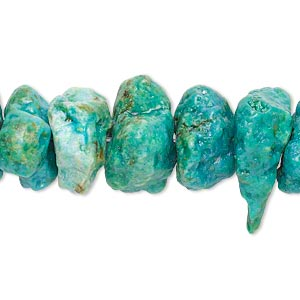 bead, turquoise (dyed / waxed), extra-large rough chip, mohs hardness 5 to 6. sold per 15-inch strand.
