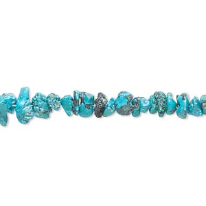bead, turquoise (dyed / waxed), small chip, mohs hardness 5 to 6. sold per 16-inch strand.