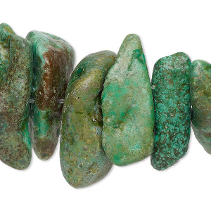bead, turquoise, green and green-brown (dyed / stabilized), gigantic chip, mohs hardness 5 to 6. sold per 15-inch strand.