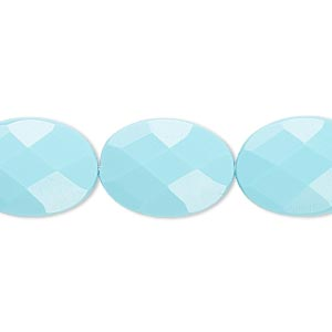 bead, turquoise (imitation), blue, 18x13mm faceted flat oval. sold per 8-inch strand, approximately 10 beads.