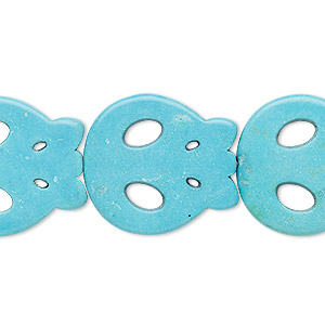 bead, turquoise (imitation), blue, 23x21mm flat skull. sold per 15-inch strand.