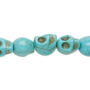 bead, turquoise (imitation), blue-green, 12x9mm-10x10mm skull. sold per 15-inch strand.