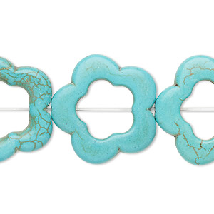 bead, turquoise (imitation), blue-green, 24x23mm-24x24mm open flower with 11mm center hole. sold per 15-inch strand.
