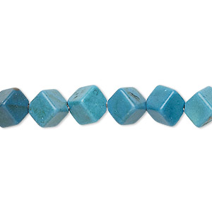 bead, turquoise (imitation), dark blue-grey, 9x9mm diagonally drilled cube. sold per 15-inch strand.