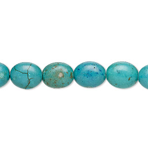 bead, turquoise (imitation), dark teal green, 10x8mm-11x9mm puffed oval. sold per 15-inch strand.