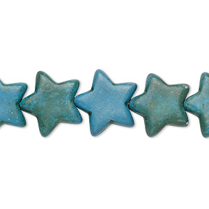 bead, turquoise (imitation), dark teal green, 14x14mm-15x14mm flat star. sold per 15-inch strand.